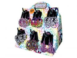 Wholesale Assorted Colorful Print Metal Fashion Earrings In Countertop Display