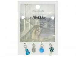 Wholesale Silver Flower Charm Necklace With Multiple Charms