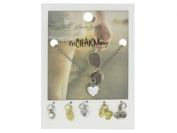 Wholesale Silver Heart Charm Necklace With Multiple Charms