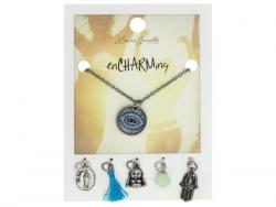 Wholesale Silver Evil Eye Charm Necklace With Multiple Charms