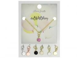 Wholesale Pink Coin Charm Necklace With Multiple Charms